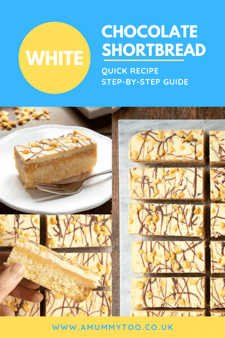 graphic text WHITE CHOCOLATE SHORTBREAD QUICK RECIPE STEP-BY-STEP GUIDE above collage of three photos of chocolate caramel shortbread with website URL below