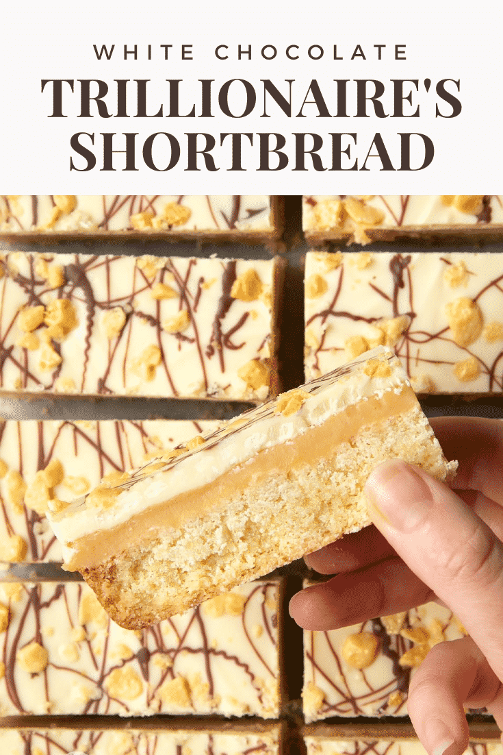 graphic text WHITE CHOCOLATE TRILLIONAIRE'S SHORTBREAD above a hand holding a shortbread