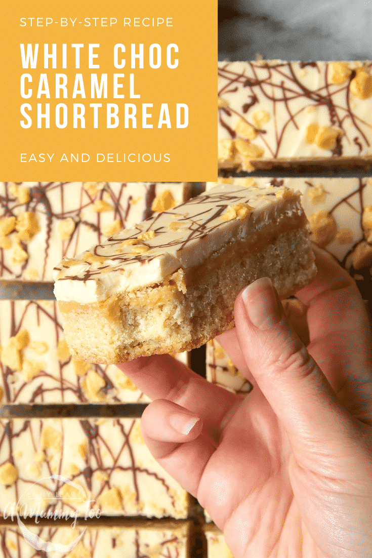 graphic text STEP-BY-STEP RECIPE WHITE CHOC CARAMEL SHORTBREAD EASY AND DELICIOUS above Overhead shot of a hand holding a white chocolate caramel shortbread with a mummy too logo in the lower-left corner