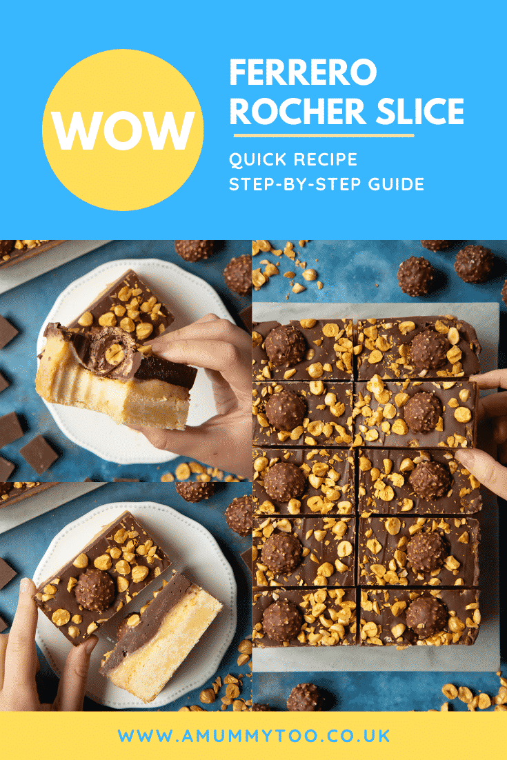 Collage of images of Ferrero Rocher slices on a marble board and plates. Caption reads: WOW. Ferrero Rocher slice. Quick recipe. Step-by-step guide.