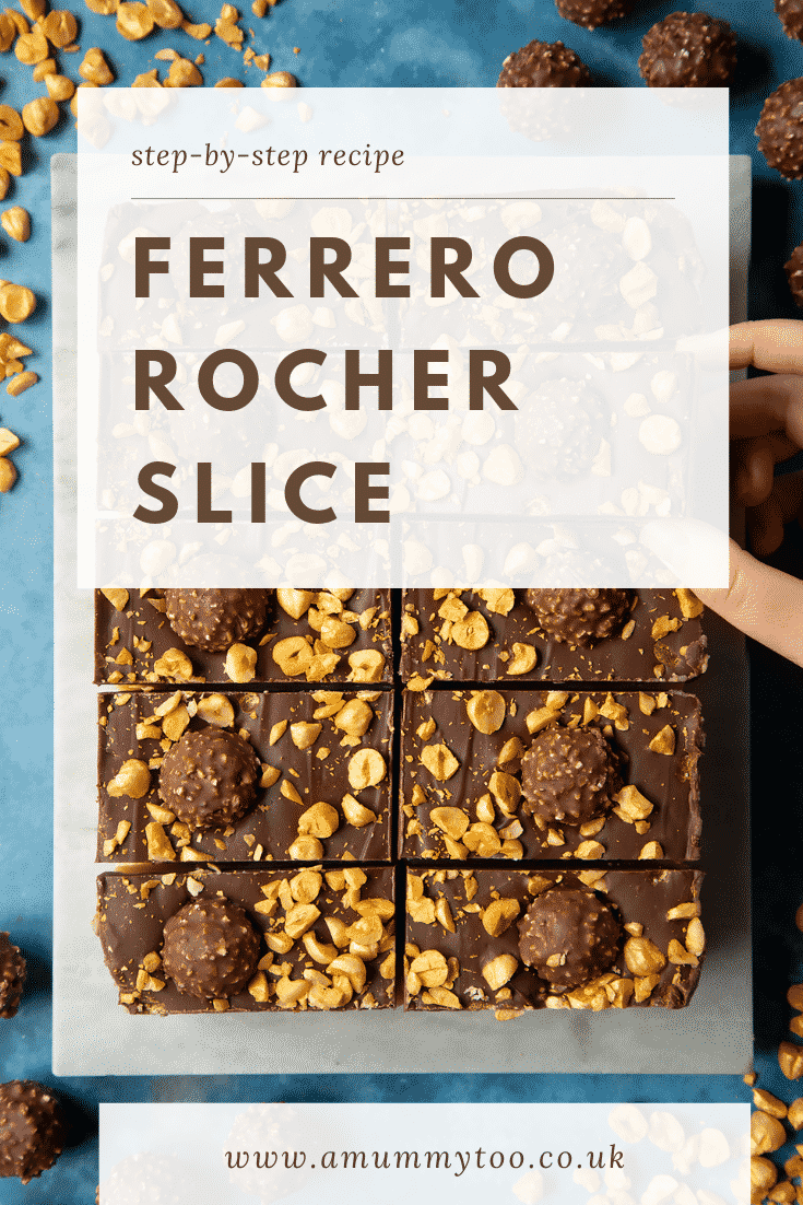 Ferrero Rocher slices on a marble board. A hand reaches for one. Caption reads: step-by-step recipe Ferrero Rocher slice