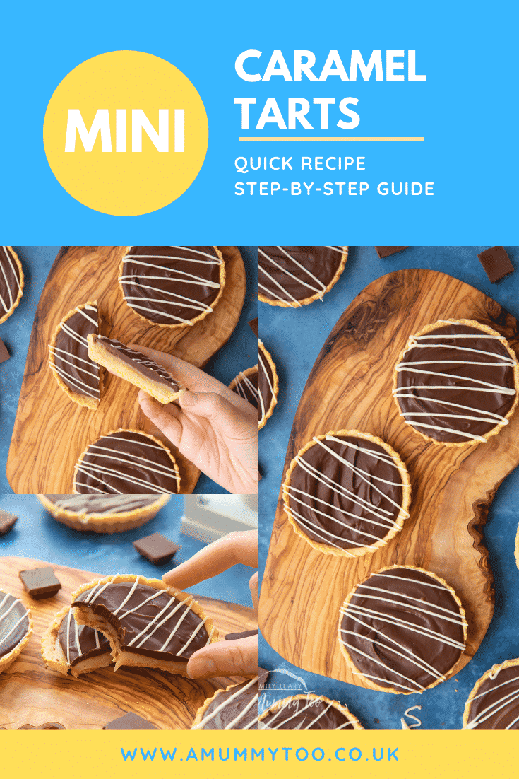 A collage of images of mini chocolate tarts on an olive board. A hand holds a half. Caption reads: mini caramel tarts quick recipe step-by-step guide