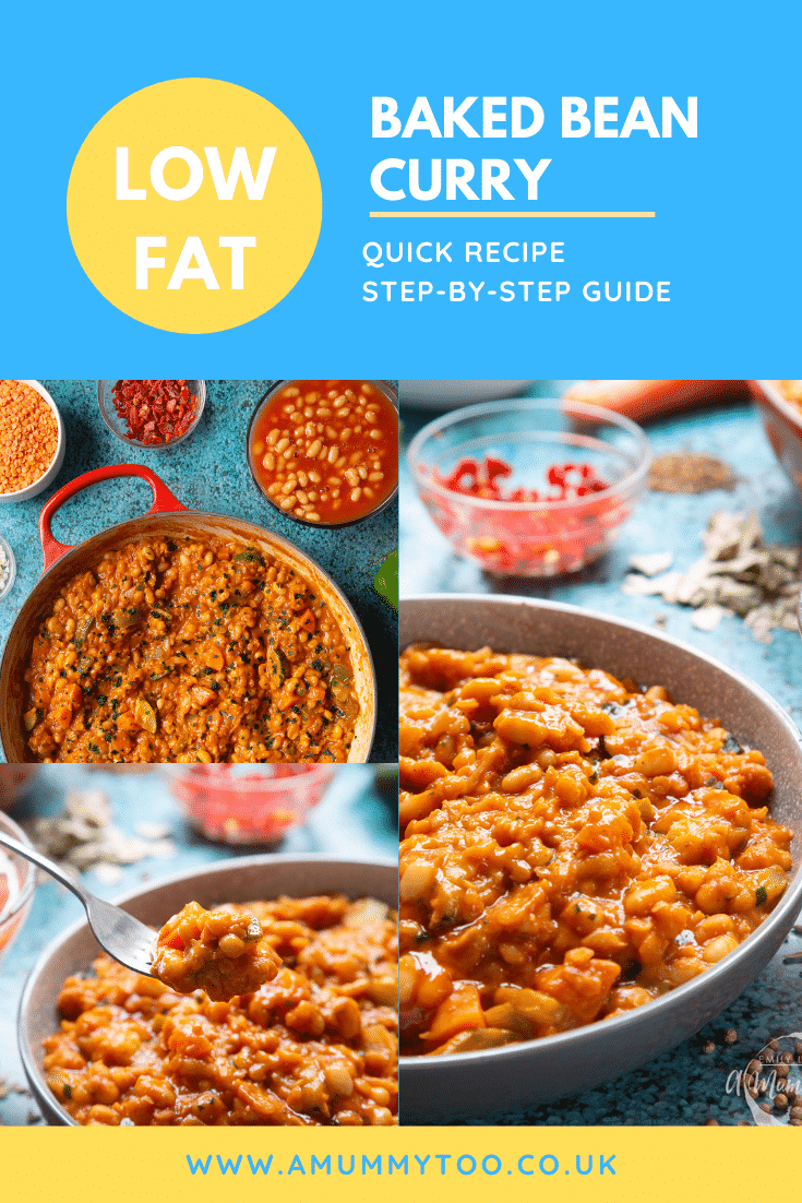 Collage of baked bean curry served in a grey bowl. Caption reads: low fat baked bean curry quick reccicpe step-by-step guide