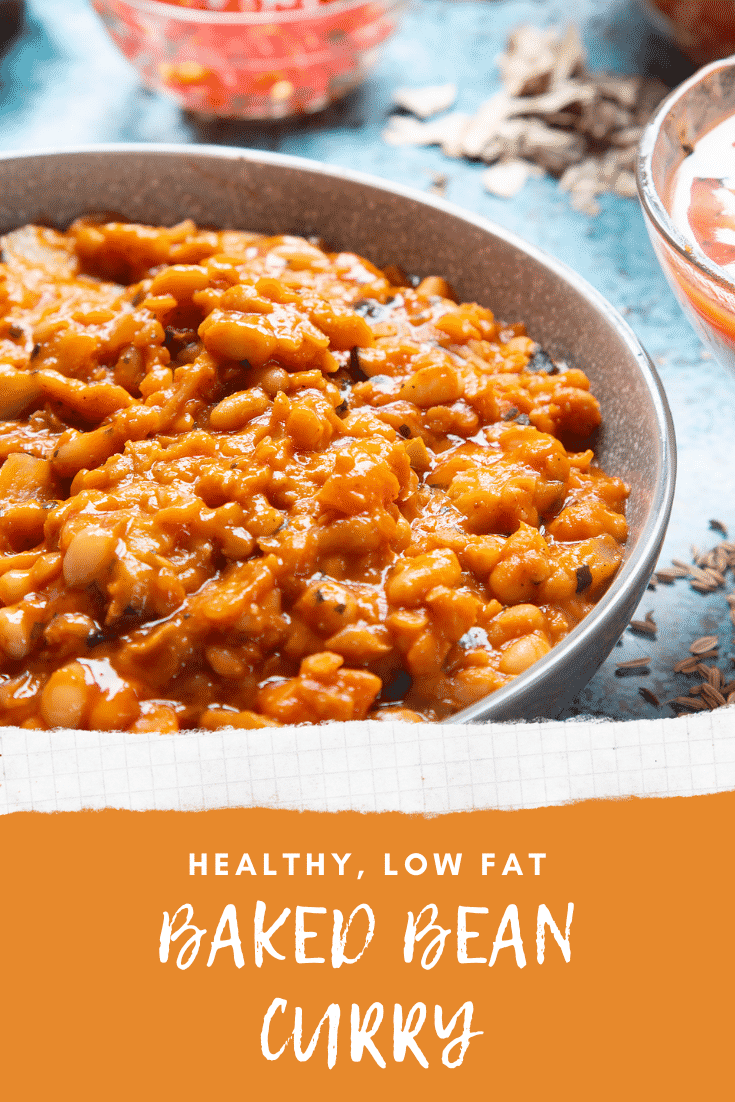 Baked bean curry served in a grey bowl. Caption reads: healthy, low fat  baked bean curry