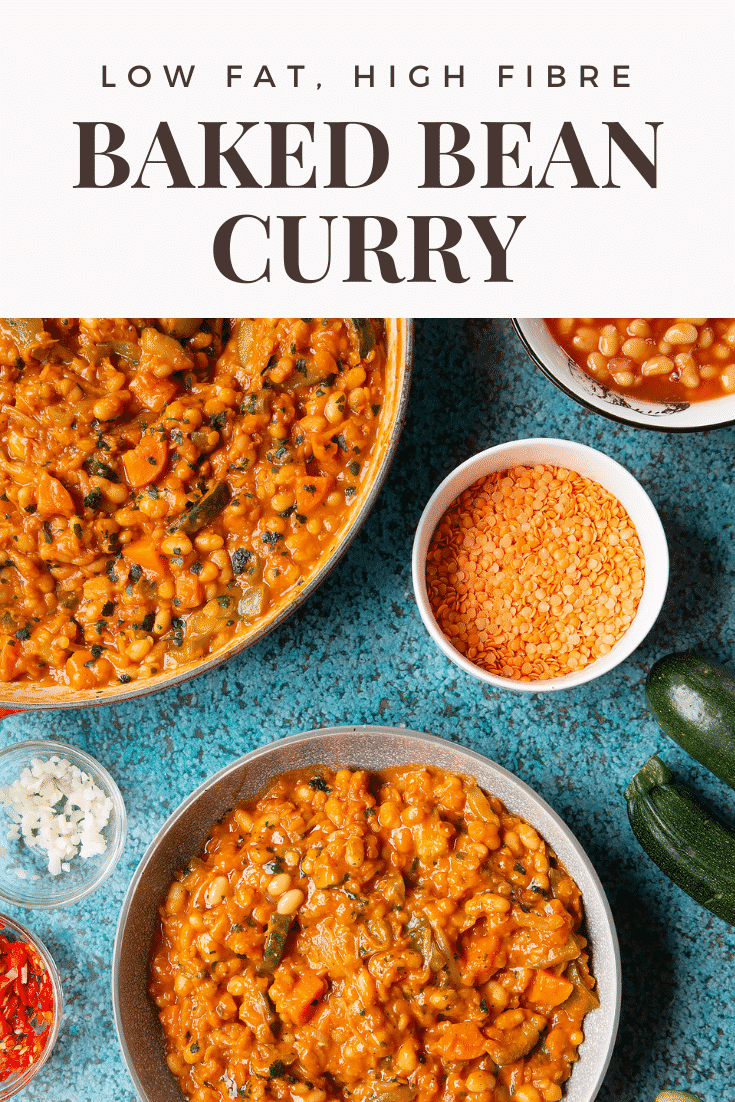 Baked bean curry served in a grey bowl. More curry is shown in a pan to the side. Caption reads: low far, high fibre baked bean curry