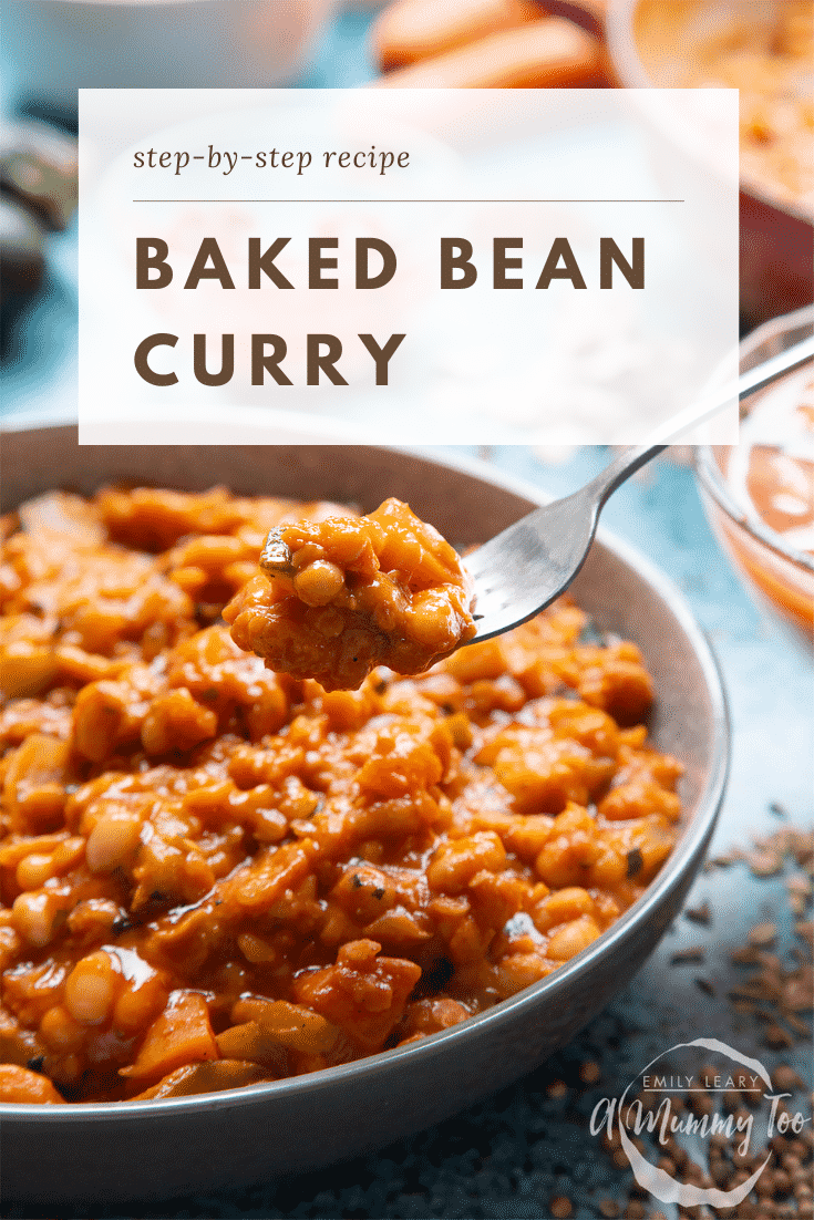 Baked bean curry served in a grey bowl. A fork digs in. Caption reads: step-by-step recipe baked bean curry