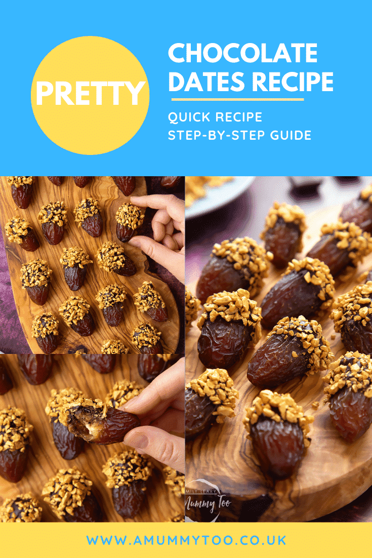 Collage showing medjool dates on a wooden board and. They have been dipped in chocolate and studded with gold chopped nuts. Caption reads: pretty chocolate dates recipe - quick recipe - step-by-step guide