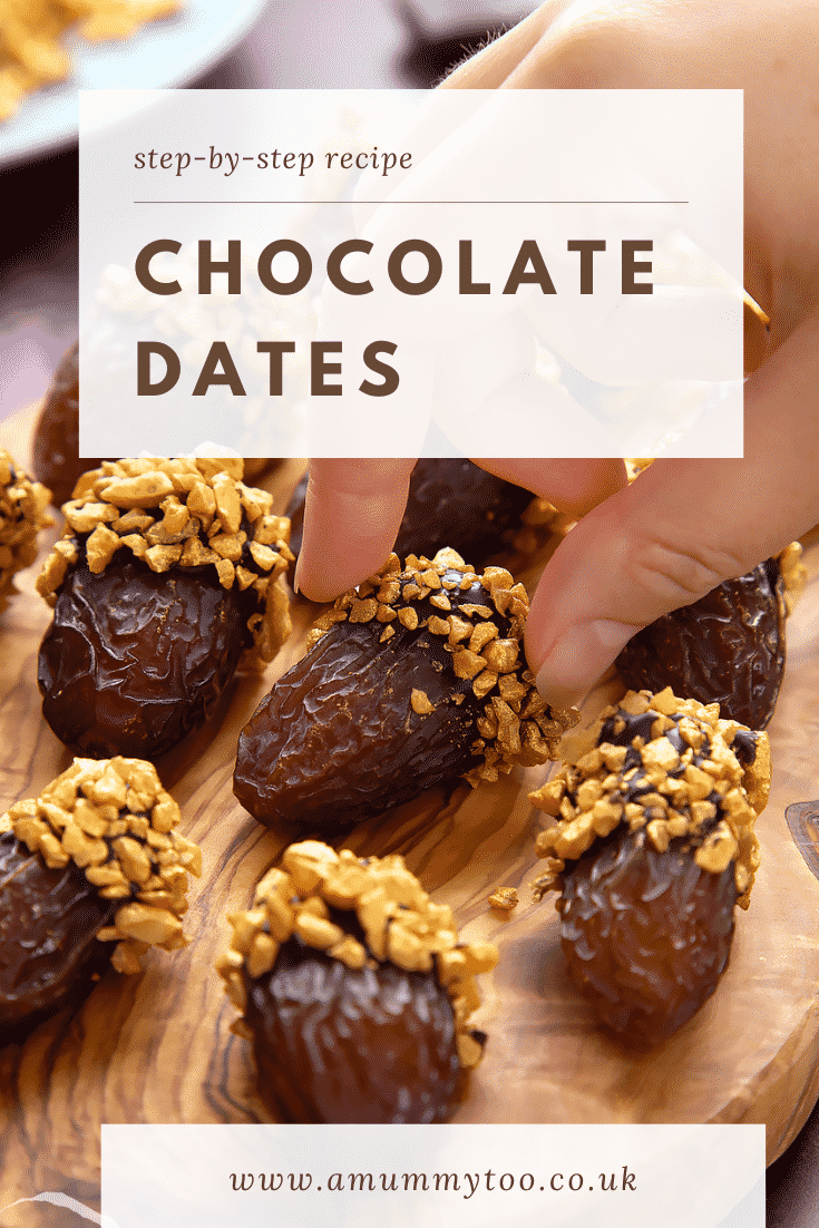 Medjool dates on a wooden board and. They have been dipped in chocolate and studded with gold chopped nuts. Caption reads: step-by-step recipe chocolate dates