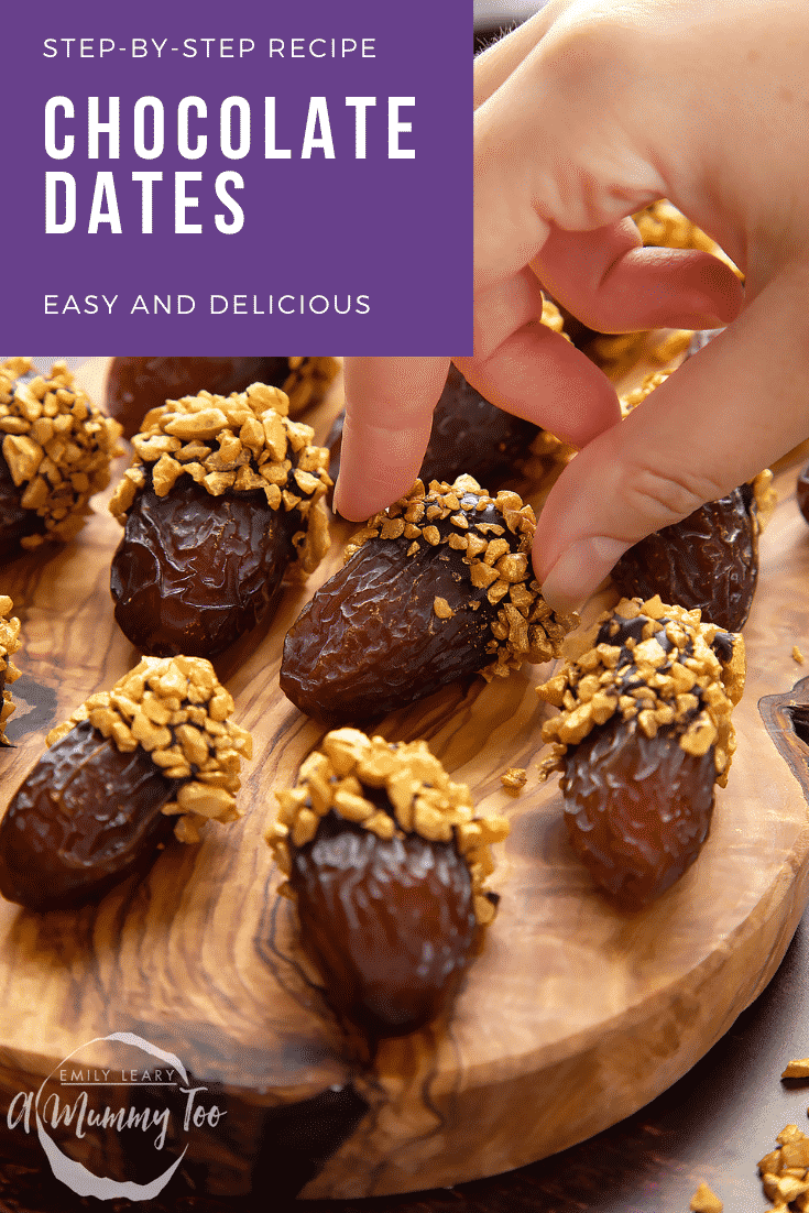 Medjool dates on a wooden board and. They have been dipped in chocolate and studded with gold chopped nuts. Caption reads: step-by-step recipe chocolate dates easy and delicious