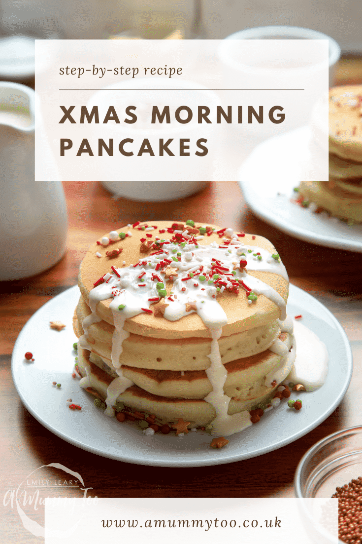 A tall stack pancakes, stacked on a white plate, scattered with festive sprinkles and drizzled with cream. Caption reads: step-by-step recipe Xmas morning pancakes