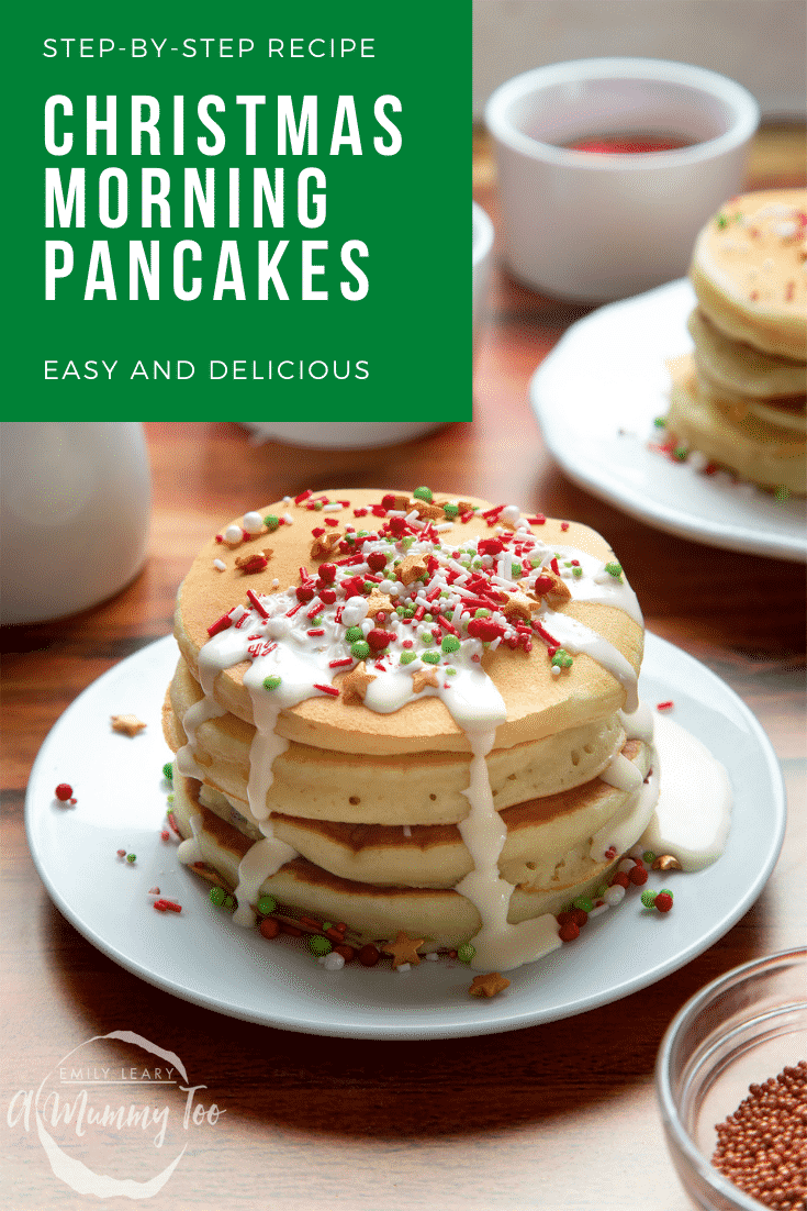 A tall stack pancakes, stacked on a white plate, scattered with festive sprinkles and drizzled with cream. Caption reads: step-by-step recipe Xmas morning pancakes easy and delicious