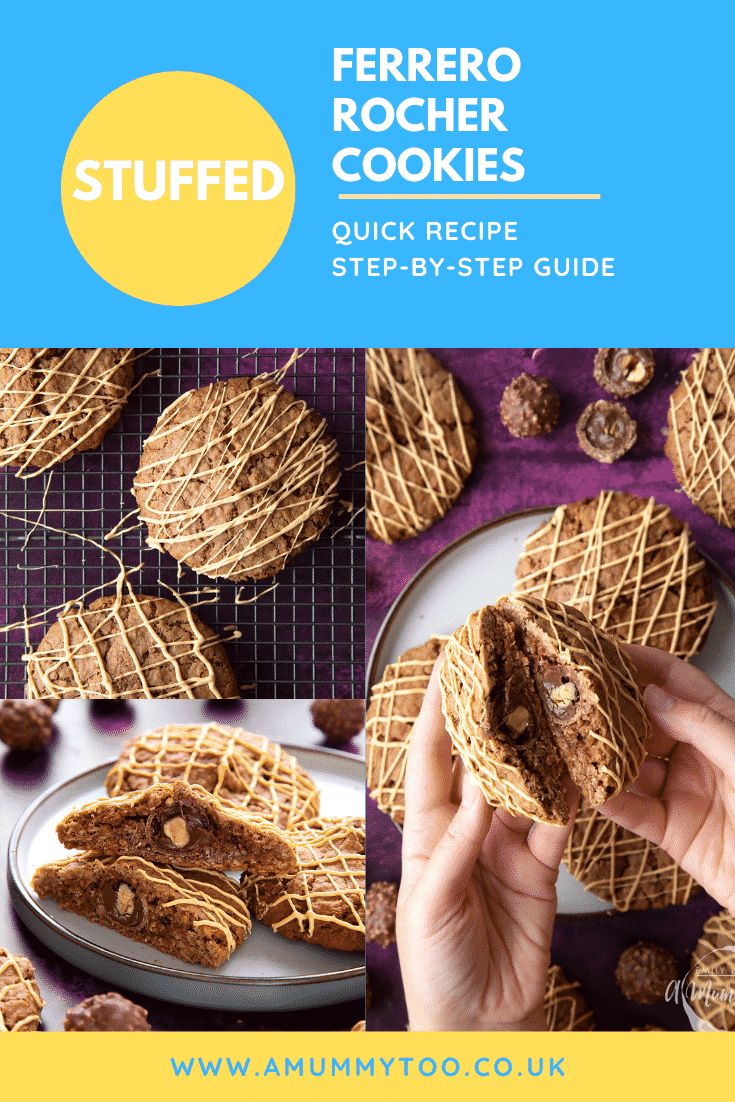 Collage of Ferrero Rocher cookies on a plate. Some have been cut in half, revealing the whole Ferrero Rocher in the centre of each one. Caption reads: stuffed Ferrero Rocher cookies. Quick recipe. Step-by-step guide.
