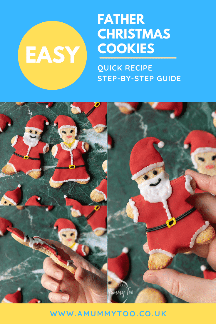 A collage of Father Christmas cookies on a green marble surface. Caption reads: Easy Father Christmas cookies. Quick recipe. Step-by-step guide.