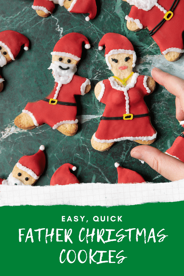 Lots of Father Christmas cookies on a green marble surface. One cookie has a bite take out of it. A hand reaches to take a Mother Christmas cookie. Caption reads: easy, quick Father Christmas cookies