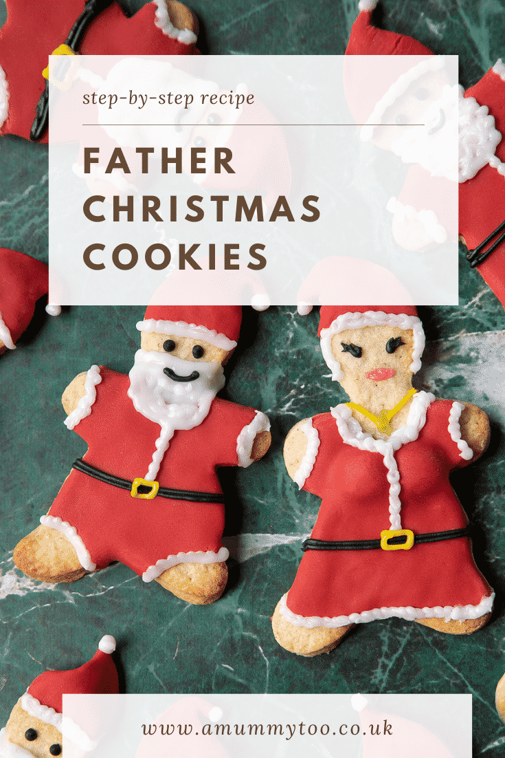 Lots of Father Christmas cookies on a green marble surface. Caption reads: Step-by-steep recipe Father Christmas cookies