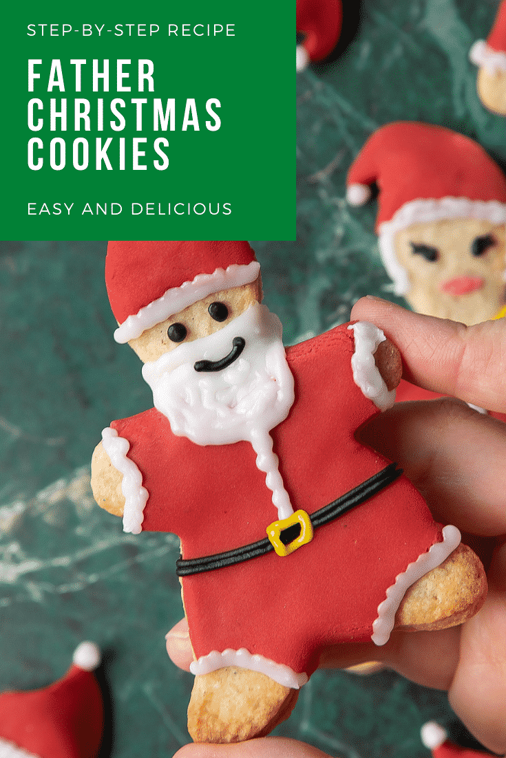 Hand holding a Father Christmas cookie above a green marble surface. Caption reads: step-by-step recipe Father Christmas cookies easy and delicious