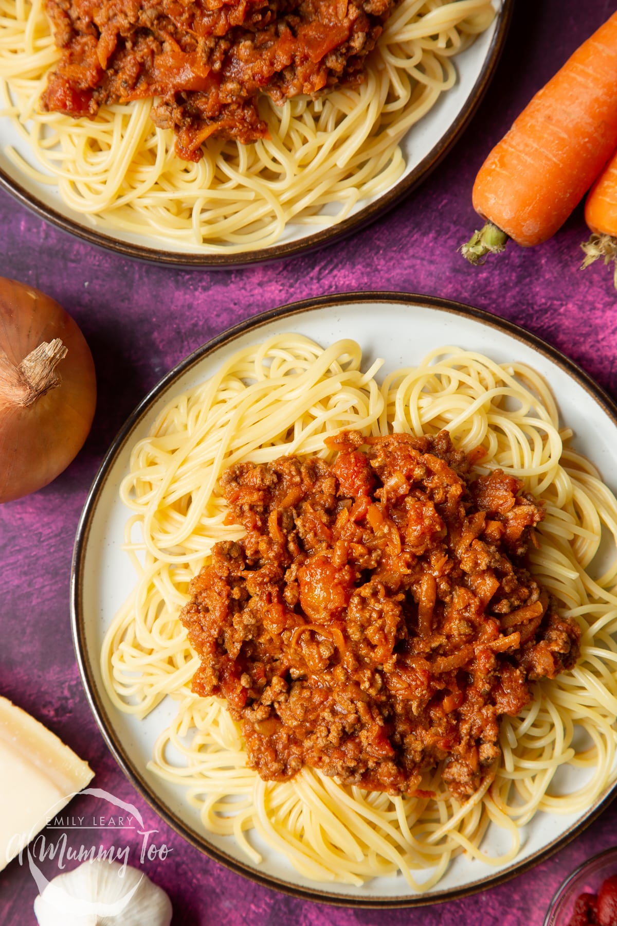 Close up of spaghetti bolognese Gordon Ramsay style served on plates.
