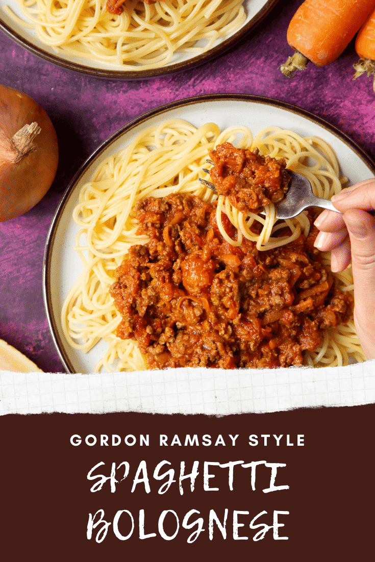 Spaghetti bolognese Gordon Ramsay style served on plates. A fork lifts pasta from the plate. Caption reads: Gordon Ramsay style spaghetti bolognese