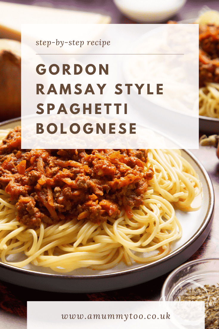 Side view of spaghetti bolognese Gordon Ramsay style served on plates. Caption reads: step-by-step recipe Gordon Ramsay style spaghetti bolognese