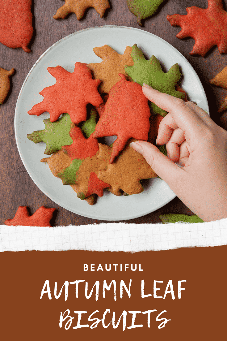 Plate of red, green and brown autumn cookies cut into the shapes of autumn leaves. Caption reads: beautiful autumn leaf biscuits
