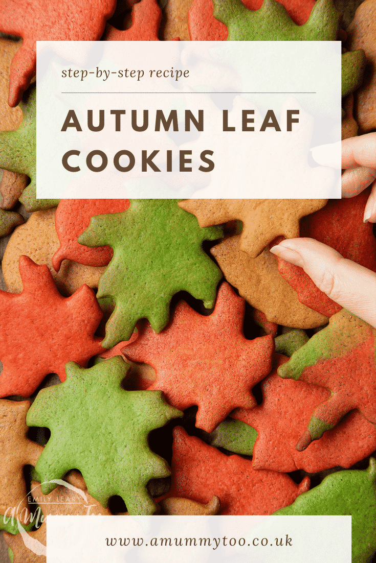 A pile of red, green and brown autumn cookies cut into the shapes of autumn leaves. Caption reads: step-by-step recipe autumn leaf cookies