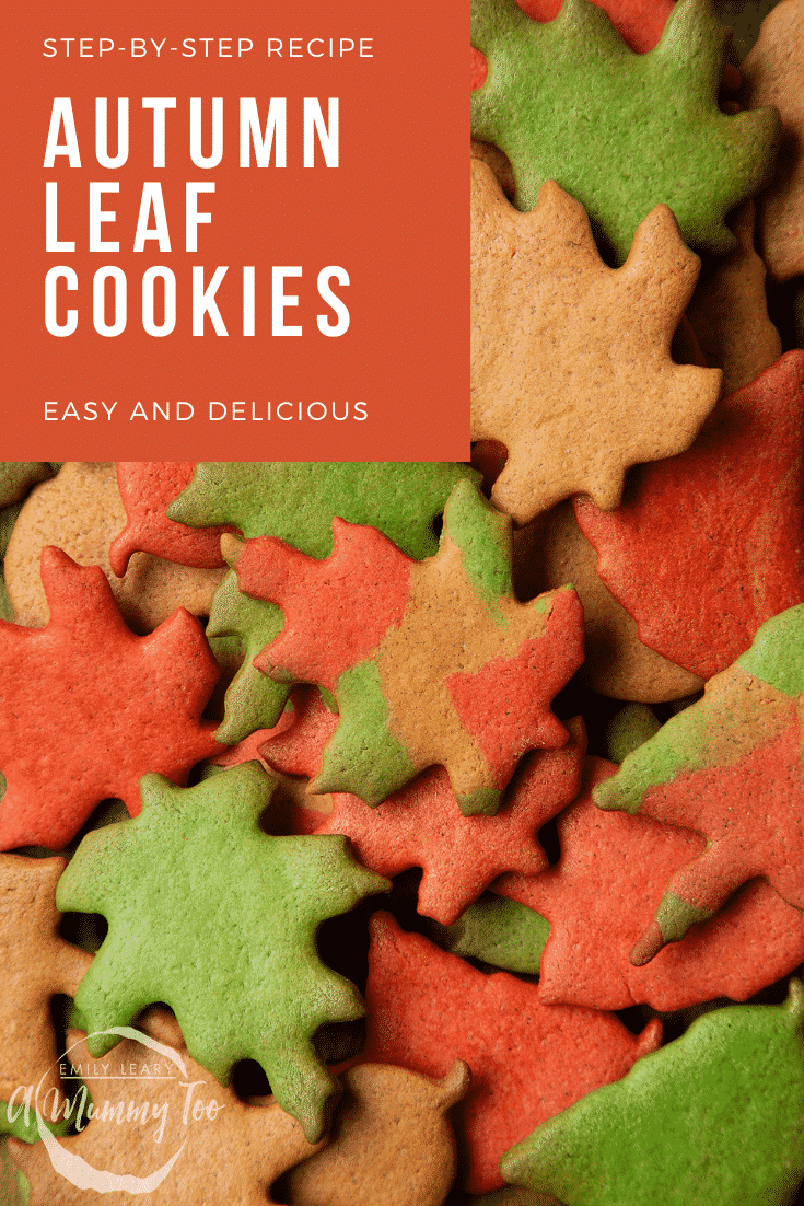 A pile of red, green and brown autumn cookies cut into the shapes of autumn leaves. Caption reads: step-by-step recipe autumn leaf cookies easy and delicious