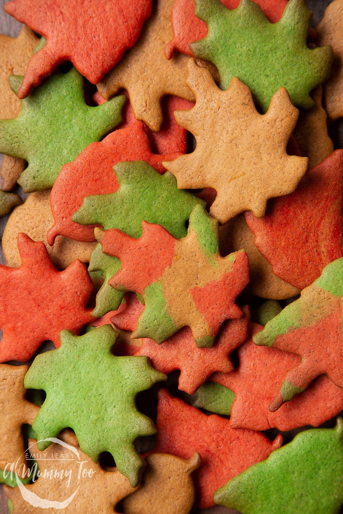 A pile of colourful red, green and brown autumn cookies cut into the shapes of autumn leaves. In the centre is a multicoloured leaf.