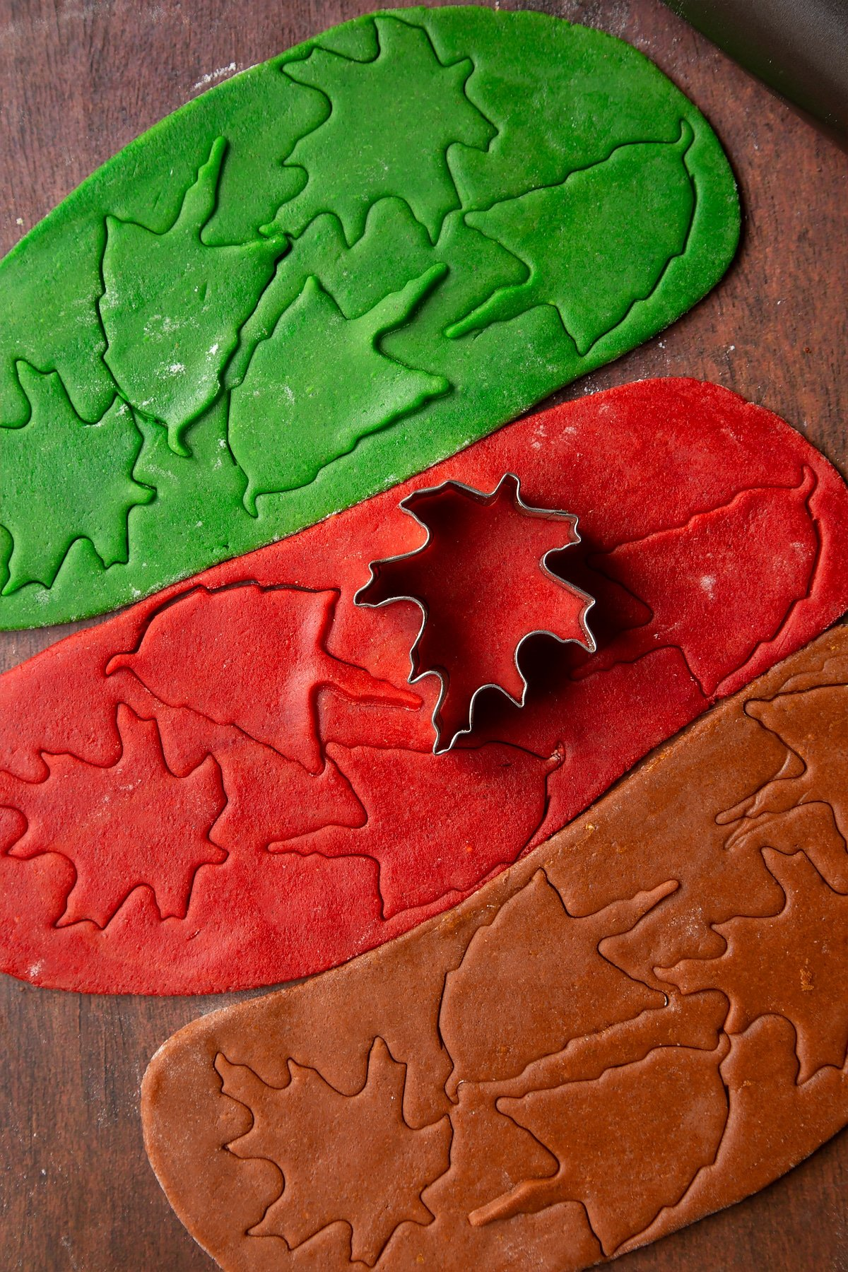 Red, green and brown cookie dough, rolled out side by side with autumn leaf shapes cut into them.