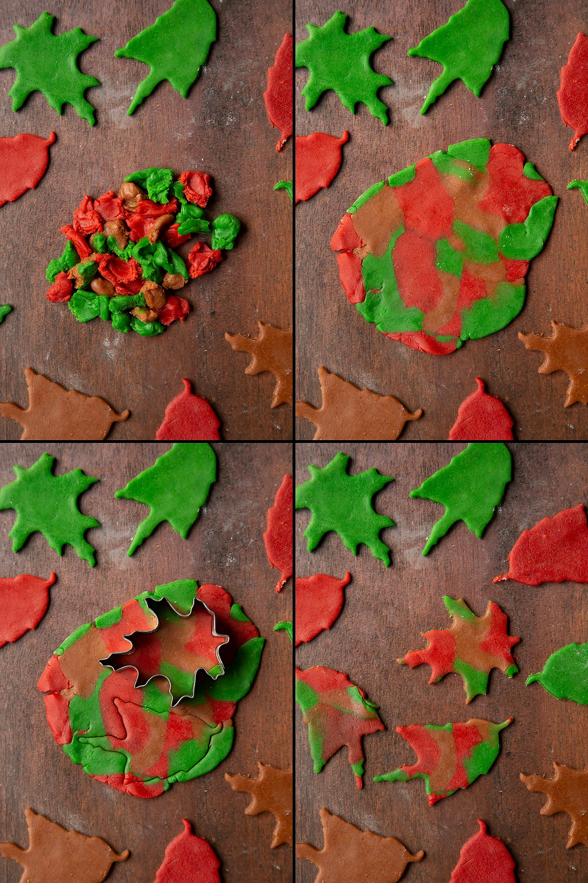 A collage of 4 images showing bits of red, green and brown cookie dough, gathered together, rolled out and cut into multicoloured leaf bicsuits.