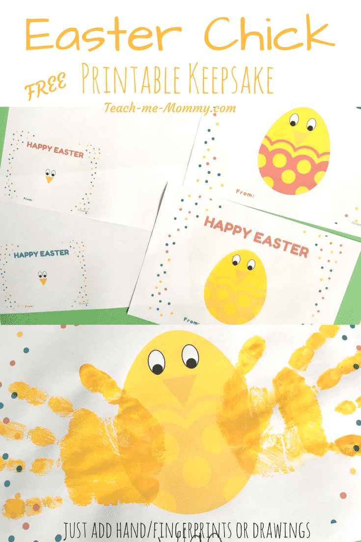 Collage of photos showing various Happy Eater printables featuring egg shaped yellow chicks. Caption reads: Easter Chick Free Printable Keepsake