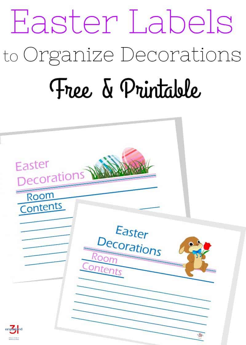 A set of labels with lines for filling in. The labels are titled Easter Decorations and have sections to fill in the Room and Contents. Caption reads: Easter labels to organize decorations. Free & printable.