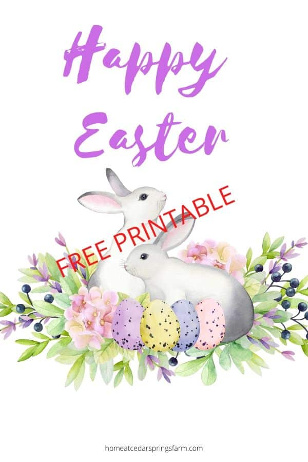 An image of two bunnies in a berry bush, surrounded by coloured Easter eggs. Caption reads: Happy Easter Free Printable