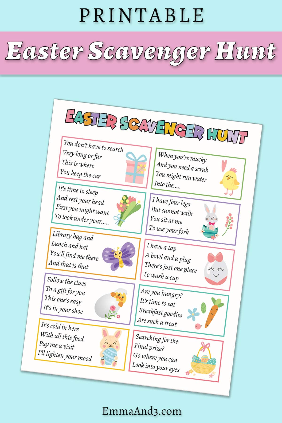 A sheet of scavenger hunt clues decorated with colour images in an Easter theme, such as carrots and bunnies. Caption reads: printable Easter scavenger hunt.