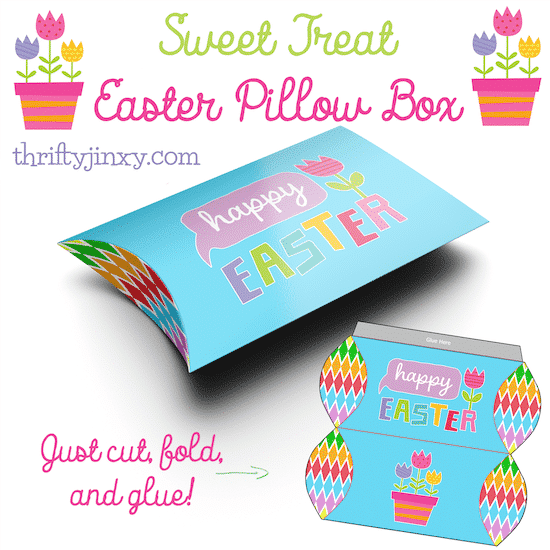 A photo of a foldable box, plus a flat template view of the same. It's blue and bears the label Happy Easter. Caption reads: Sweet treat Easter pillow box.
