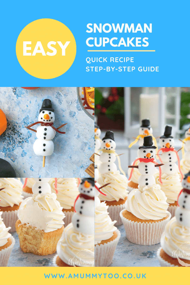Three process images of the snowman cupcakes. At the top of the image there's some text describing the image for Pinterest.