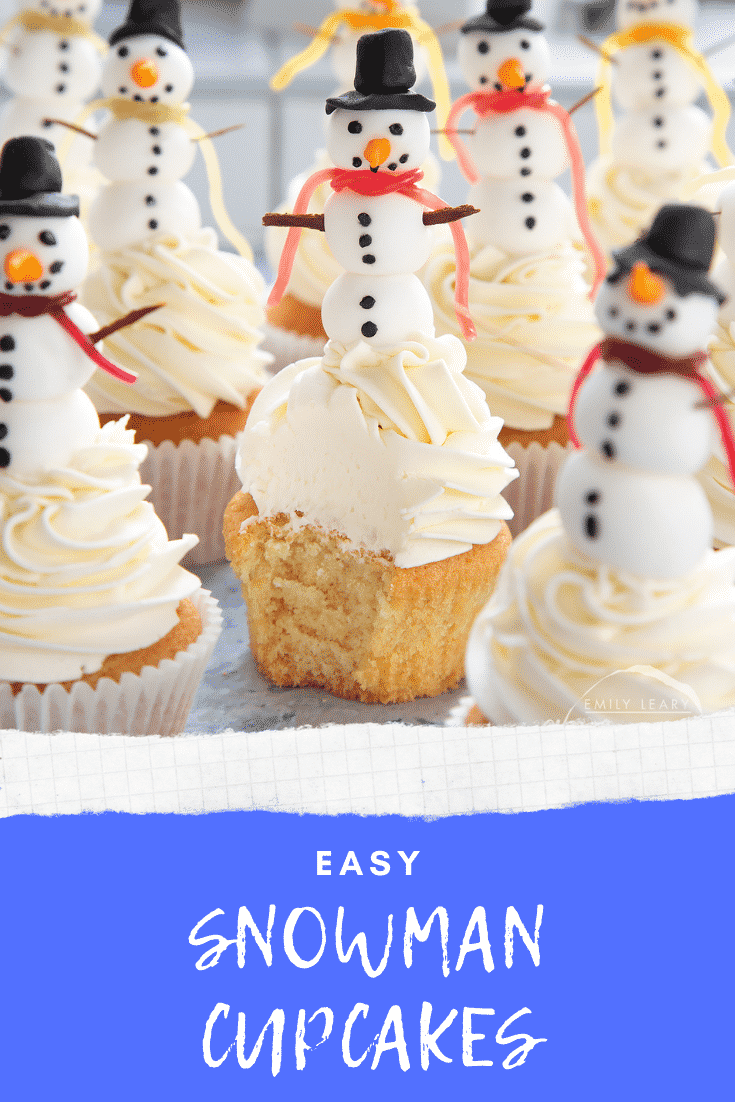 Close up front on shot of the snowman cupcakes. The centered cupcake has had a bite taken out of it. The white text at the bottom of the image describes the image for Pinterest.
