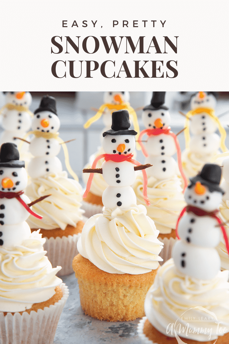 Close up forward facing photo of the snowman cupcakes with text describing the cupcakes at the top of the image.