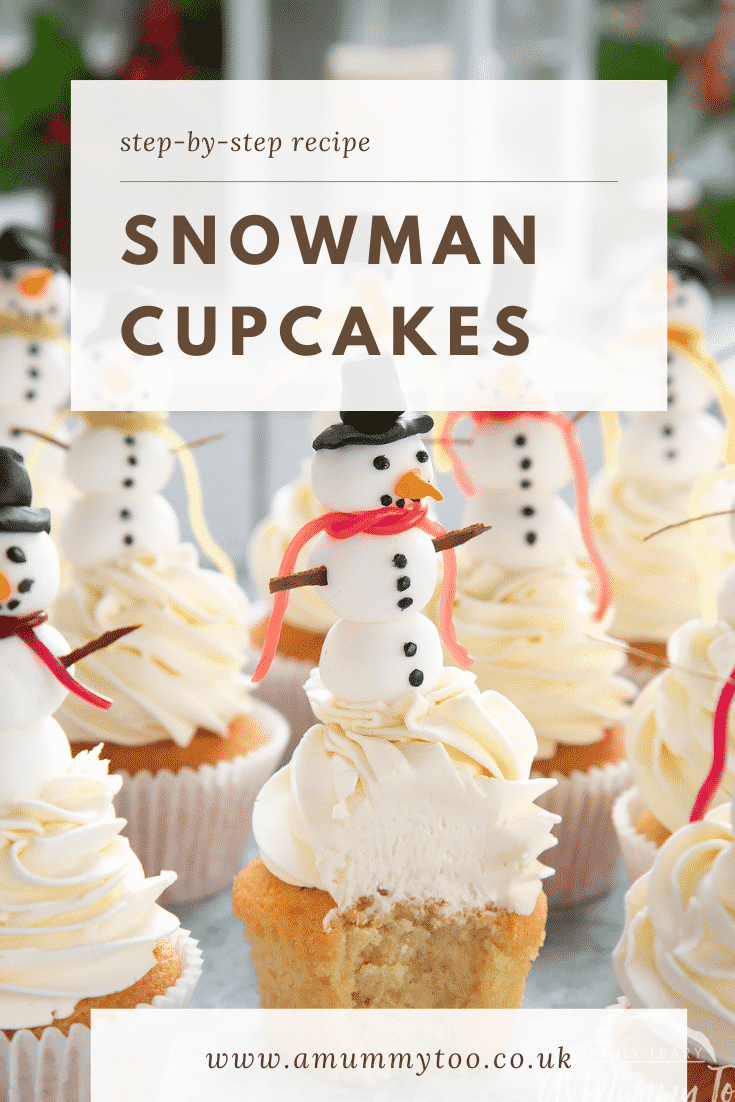 Close up of the snowman cupcakes. The centered cupcake has a bite taken out of it. The text at the top of the image describes the image for Pinterest.