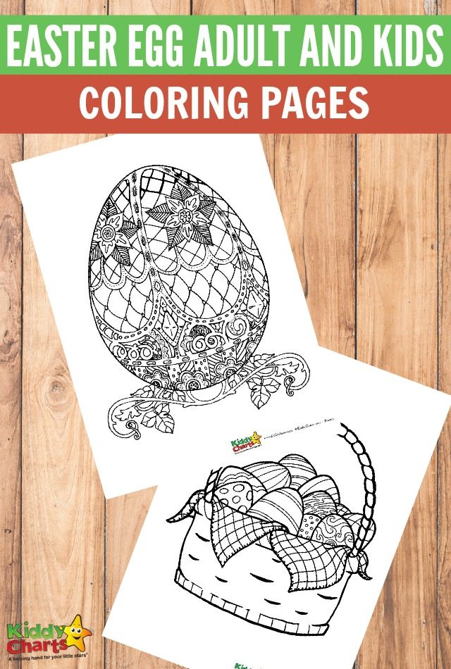 A photo of two sheets of printable colouring pages. They feature intricately decorated Eggs. Caption reads: Easter egg adult and kids colouring pages.