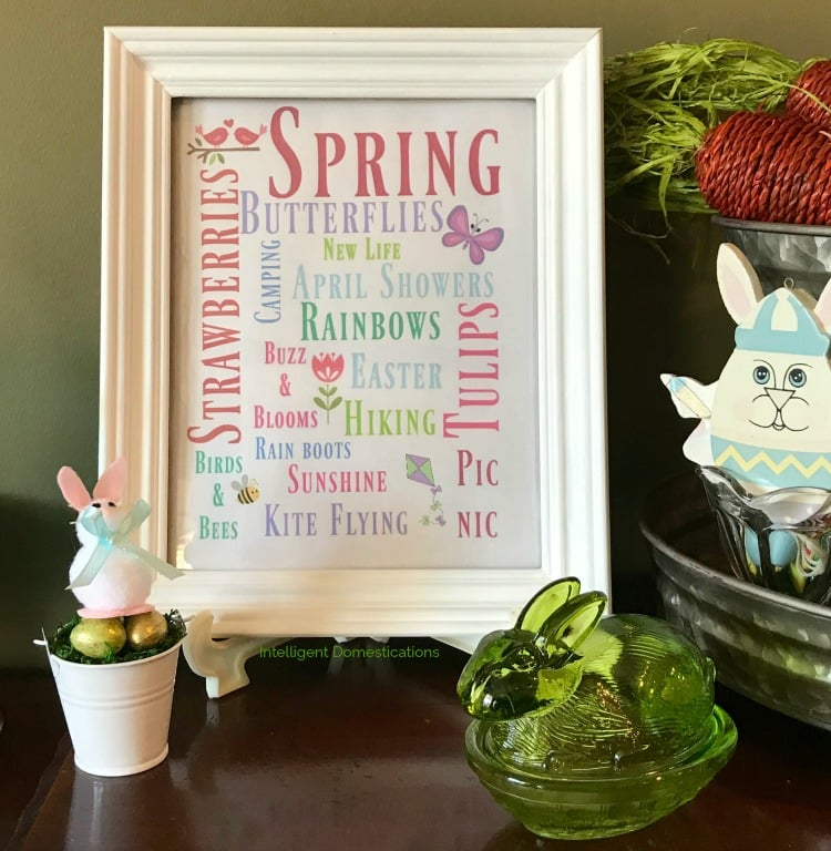 A framed artwork on an Easter decorated shelf. The art is a series of spring-themed words in coloured fonts.