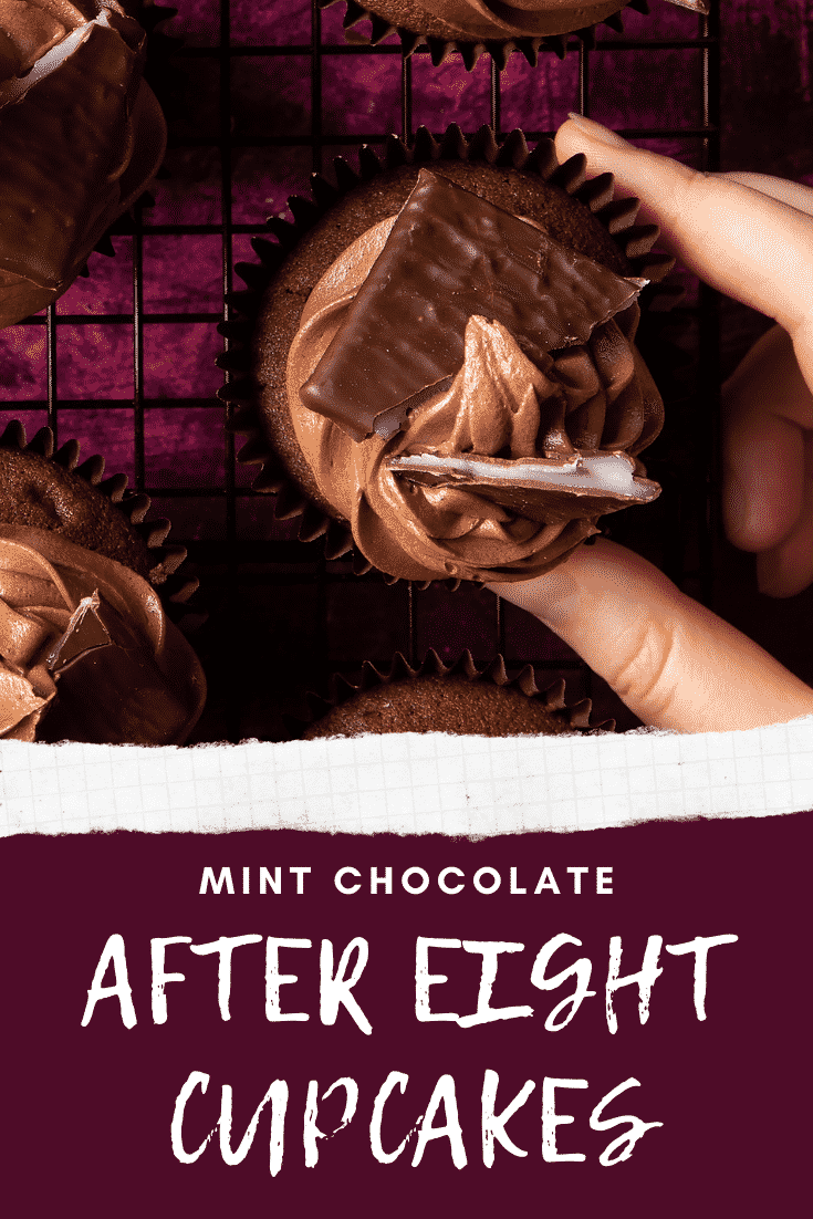 After Eight cupcake on a cooling rack on a purple surface. Caption reads: Mint chocolate After Eight cupcakes