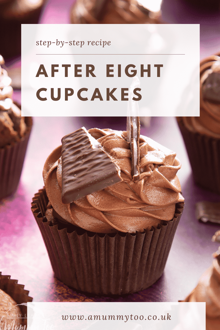 After Eight cupcake on a purple surface. Caption reads: step-by-step recipe After Eight cupcakes