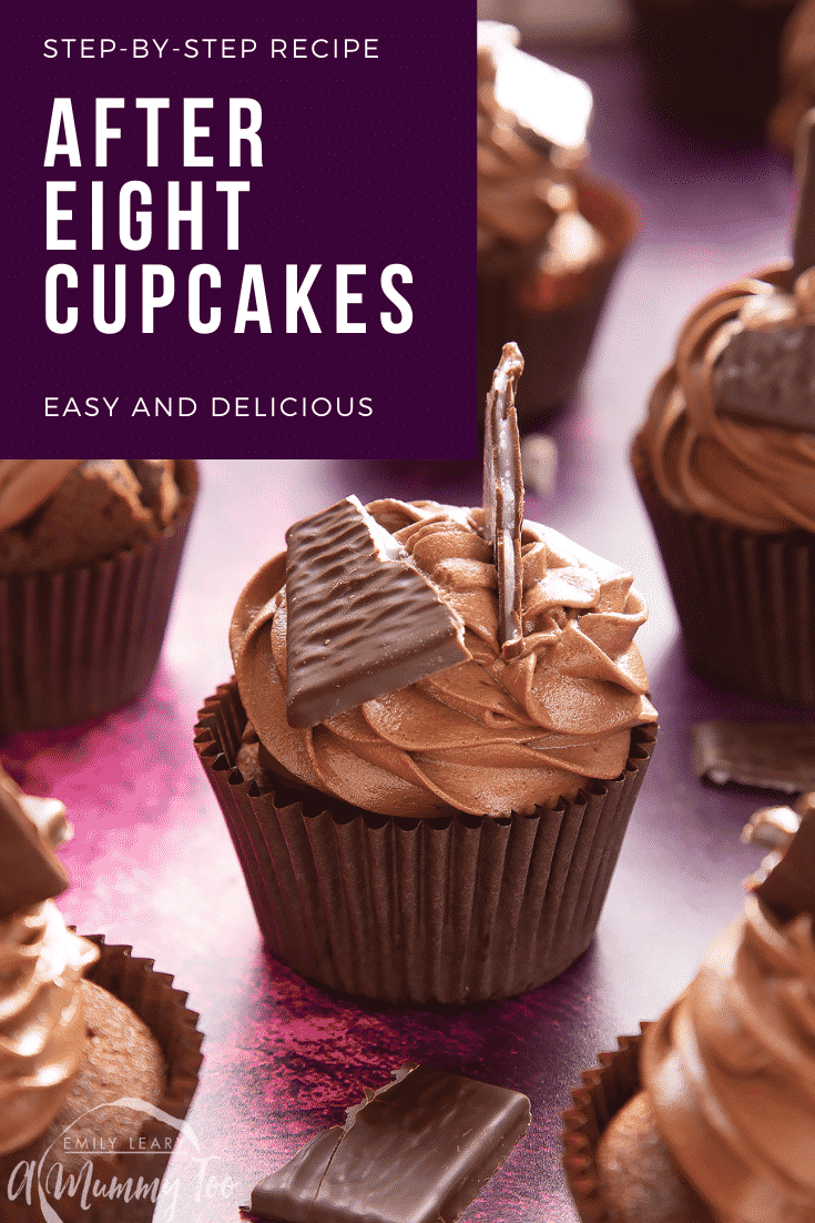 After Eight cupcake on a purple surface. Caption reads: step-by-step recipe After Eight cupcakes easy and delicious