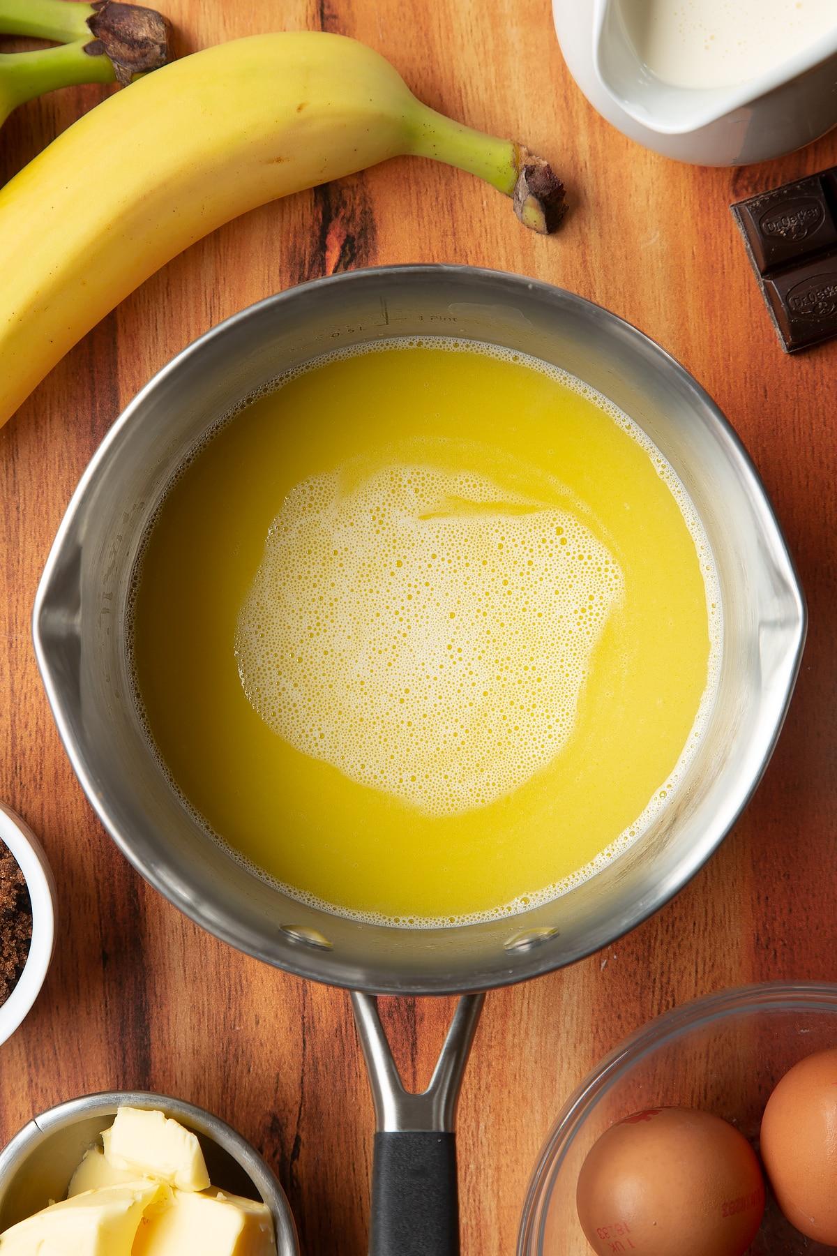 Overhead shot of butter liquid in a pan