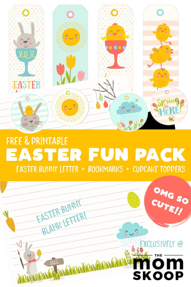 A collage of images fo Easter themed gift tags, bookmarks and cupcake toppers. Caption reads: Free & printable Easter fun pack.