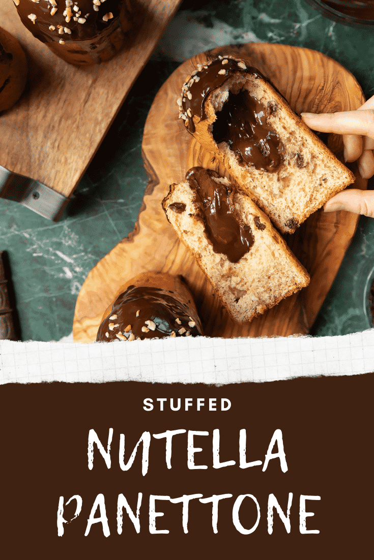 Nutella panettone on wooden boards. A hand reaches for one. Caption reads: step-by-step recipe Stuffed Nutella panettone