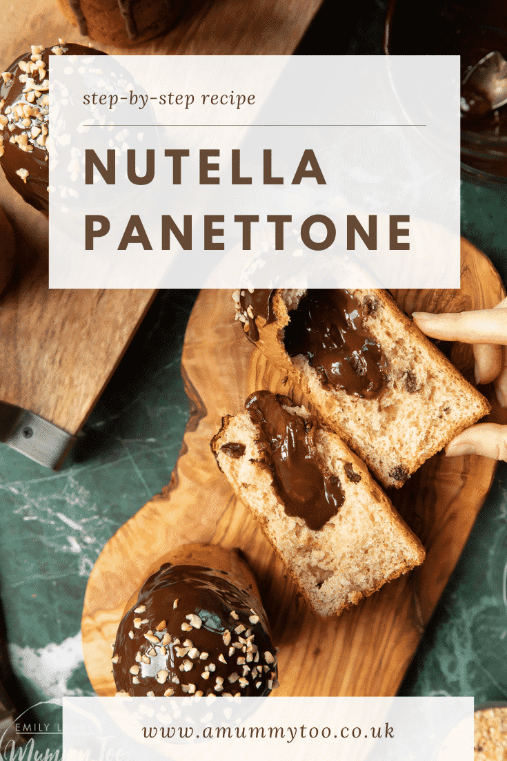 Nutella panettone on wooden boards. Caption reads: step-by-step recipe Stuffed Nutella panettone