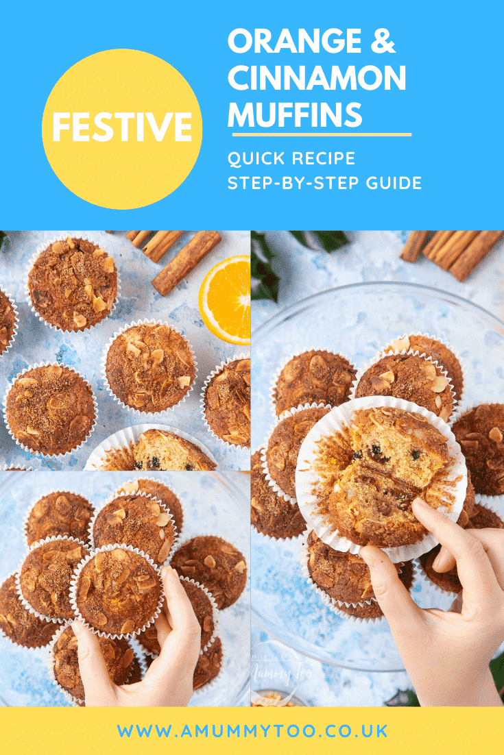 graphic text  FESTIVE ORANGE & CINNAMON MUFFINS QUICK RECIPE STEP-BY-STEP GUIDE above collage of three photos of orange cinnamon muffins with website URL below