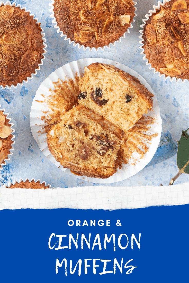 graphic text ORANGE & CINNAMON MUFFINS above uncased halved orange muffins