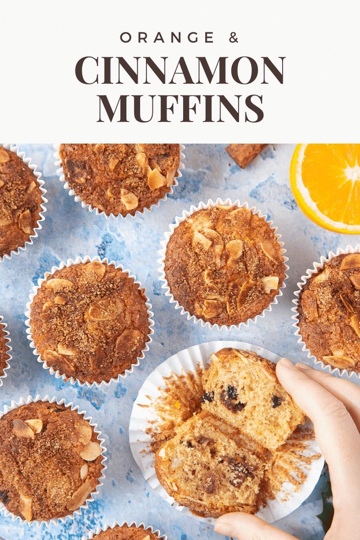 graphic text ORANGE & CINNAMON MUFFINS above a hand holding a halved orange muffins